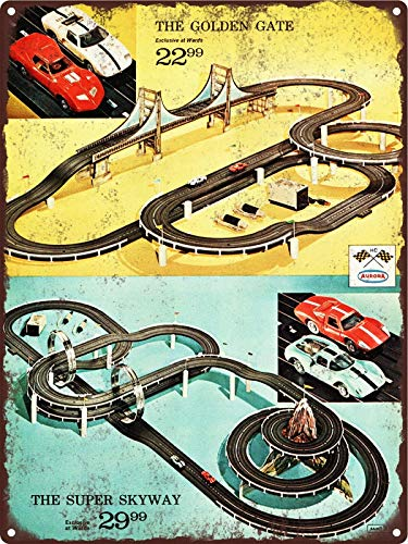 Aurora Slot Car Race Set Track Golden Gate Skyway Metal Sign 9x12 ()