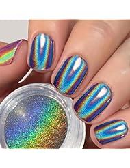 USHION Nagel Pulver Hologramm Chrome Pulver Glitzer Regenbogen Einhorn Spiegel Nägel - Holographic Nail Powder Mirror Nails Chrome Powder Nail Art Deco