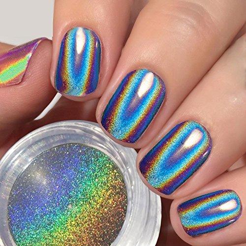 USHION Polvere Olografica Unghie Unicorno Arcobaleno Effetto Specchio HOLO Cromato Unghie Pigmenti,Chrome Effect Powder Nail Art