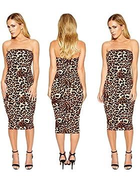 Vestidos mujeres Envolvió Pecho sexy sin respaldo leopard print discoteca falda de lápiz