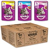Whiskas Wet Cat Food Pouch for 1+ Adult, Mixed Selection in Jelly - Pack of 84