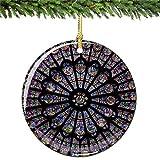 Cooljun Rose-Fenster-Christbaumkugel, Notre Paris Dame-Kathedrale Porzellan-Verzierung Frankreich-Weihnachtsandenken-Geschenk