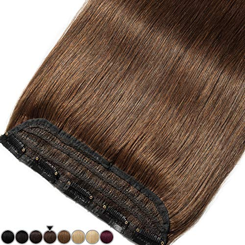 40CM(80g) Extension Cheveux Naturel a Clip Une Pièce Monobande Maxi Volume - 100% Remy Human Hair Extension Clip in - #04 Châtain