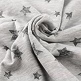 Neumann Handelsvertrieb Jersey Stoff 100% Baumwolle 165 cm Breit (50 x 165 cm, Sterne Grau Groß)