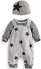 Newborn Baby Boy Strampler Star Bekleidungssets Hosen+Tops+Hut Niedlich Overall Romper Outfit Bodysuit