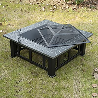 Outsunny Outdoor Garden Mental Firepit Fire Pit Brazier Square Table Patio Heater Stove With Waterproof Cover by sold by mhstar