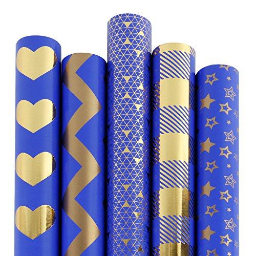 RUSPEPA 5 Rolle Geschenk Wrapping Paper Roll - Marineblau Und Gold Folie Muster - 76Cm X 305Cm Pro Rolle