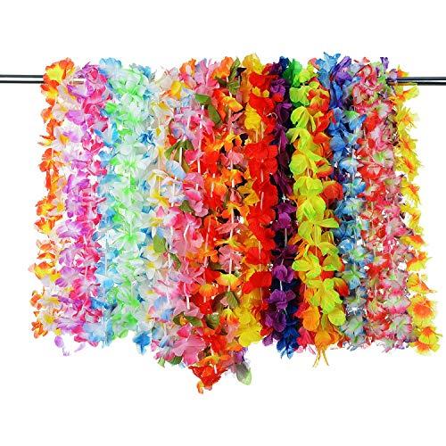 PovKeever 36 Piezas Guirnaldas de Flores Hawaianas Tropical Hawaiano con Volantes Flor Lei de Luau Collares de Flores de colores para Fiesta Temática de Playa Decoraciones Favores