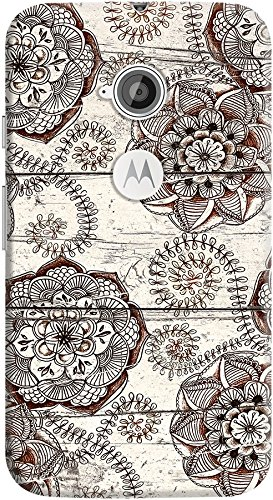 DailyObjects Cocoa Brown And Cream Floral Doodles Case For Motorola Moto E2
