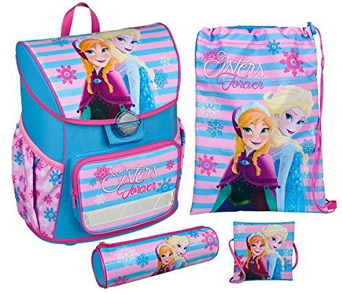 Scooli FRSW8371 - Schulranzen mit Schuhbeutel, Brustbeutel und Schlamperetui, leicht, ergonomisch, Disney Frozen mit Anna und Elsa, 4 teilig (Frozen Olaf-geldbörse)