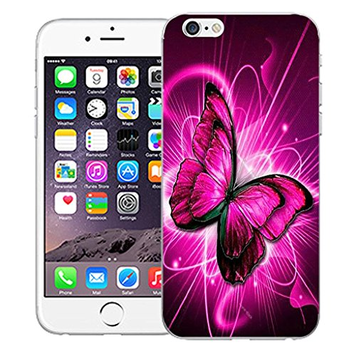 """Mobile Case Mate iPhone 6 4.7"""" inch clip on Dur Coque couverture case cover Pare-chocs - blue dual love Motif twirling butterfly"""