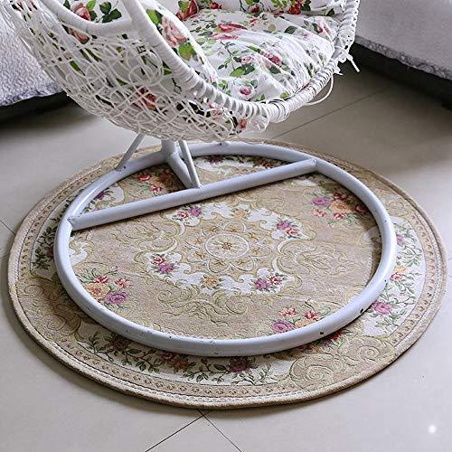 ZCXBB Europäische Runde Teppich Nachttisch Teppich Computer Drehstuhl Kissen Hause Stuhl Pad Hängen Orchidee Stuhl Kissen (Color : White, Size : XXL) -
