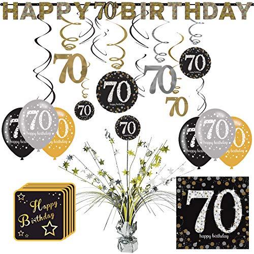 Unbekannt 56-TLG. Partyset 70. Geburtstag Dekopaket Tischdekoration Partyzubehör Deko schwarz Gold