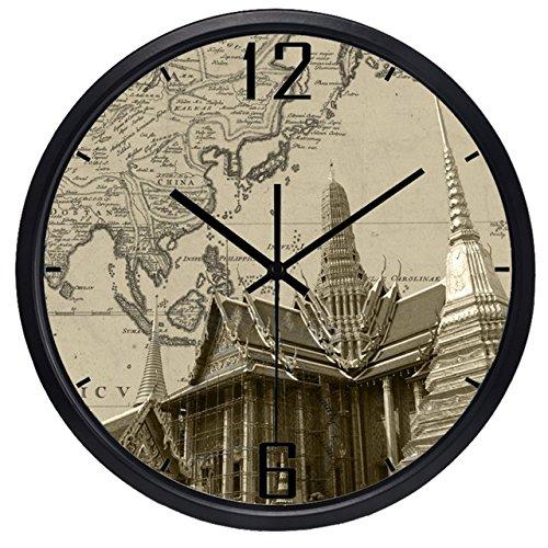 OLILEIO der Welt Zeitzonen Uhr Marke EL Lobby Wecker Welt Sehenswertes Altes Papier Karte Uhr Ultra Quiet High-Gr Quarzuhr, Thailand Wat Haw PHA, China, 14 Zoll (Zeitzonen Der Welt-karte)