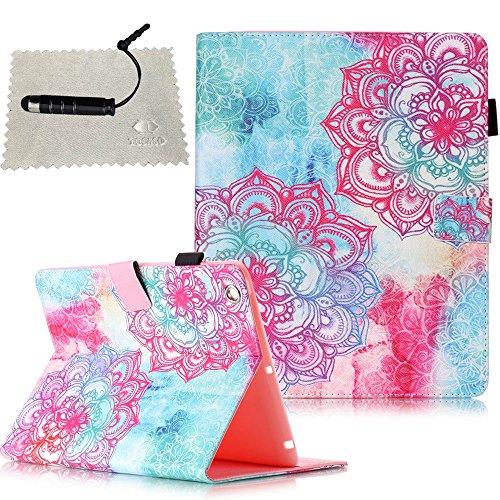 TOCASO Hülle für iPad 2/3 / 4 Flip Cover Tasche e Schutzhülle für iPad 2 3 4 Case Wallet schützende ID Karte Slots Pouch Soft Silikon Backcover RückseitehülleChinese Papierschnitt Blume