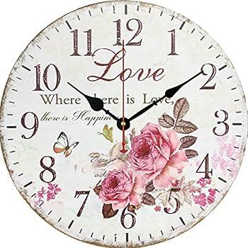 Amazon.de: Vintage Wanduhr Rosen Postage - 28cm - Uhr für