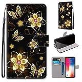 Miagon Flip PU Leder Schutzhülle für iPhone XS Max,Bunt Muster Hülle Brieftasche Case Cover Ständer mit Kartenfächer Trageschlaufe,Diamant Schmetterling -