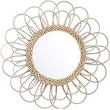 Pendant Miroir Rotin Tournesol Circulaire Miroir Mural Décor Boho Osier Coiffeuse Maquillage Miroirs