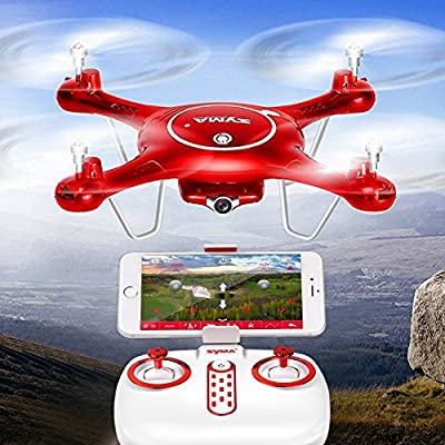 Syma X5UW Quadcopter - 6 Axis, 720p FPV Camera, Two Flight Speeds, Remote Control, iOS And Android Support, 500mAh, 30M Reach