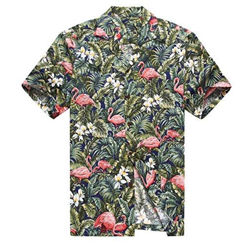 Hecho-en-Hawaii-Camisa-hawaiana-de-los-hombres-Camisa-hawaiana-4XL-Flamenco-en-Selva-de-la-selva-tropical-Azul-Marino
