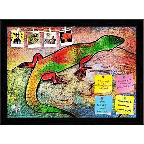 Artzfolio Artwork Of A Lizard Printed Bulletin Board Notice Pin Board | Black Frame 16.6 X 12Inch -