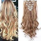 S-noilite 60cm Full Clip tete dans les extensions de cheveux boucles Wavy 8 Pcs 18 clips Naturel - Brun clair & blond de cendre
