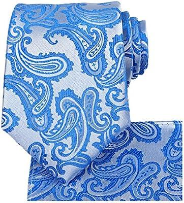 Kissties - Juego de corbata, pañuelo de bolsillo cuadrado y caja de regalo para hombre