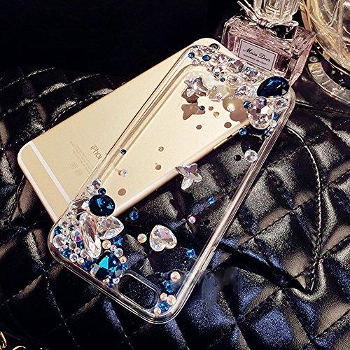 Paillette Coque Housse Etui pour iPhone 7 Plus/8 Plus,iPhone 8 Plus Coque en Silicone Glitter,iPhone 7 Plus Silicone Coque Couleur Diamants pour Femme Fille Transparent Etui Gel Slim Case Soft Gel Cov Diamant-Bleu