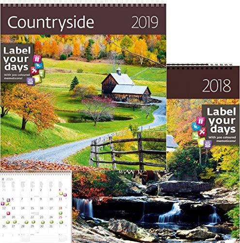 (ca-18–19KALPA Wandkalender 30x30cm + Label mit 300Aufkleber   2018+ 2019Kalender CountrySide 2018 & 2019)
