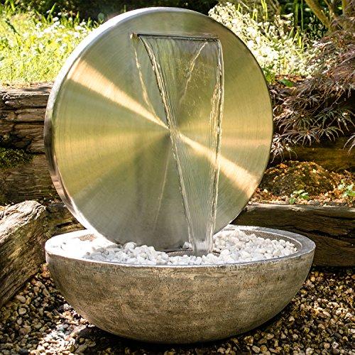 Köhko® Wasserwand Ø 55 cm mit Einer Halbschale in Natursteinoptik mit LED- Beleuchtung