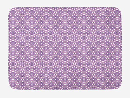 ARTOPB Geometric Bath Mat, Blooming Flowers in Spring Season Themed Birth of The Nature Image, Plush Bathroom Decor Mat with Non Slip Backing, 23.6 W X 15.7 W inches, Lilac Lavander White