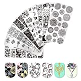 BORN PRETTY Nail Art Stamp Templates Flower Animal Letters Cartoon Design Stamping Image 8Pcs Rectangle Stamp Plates