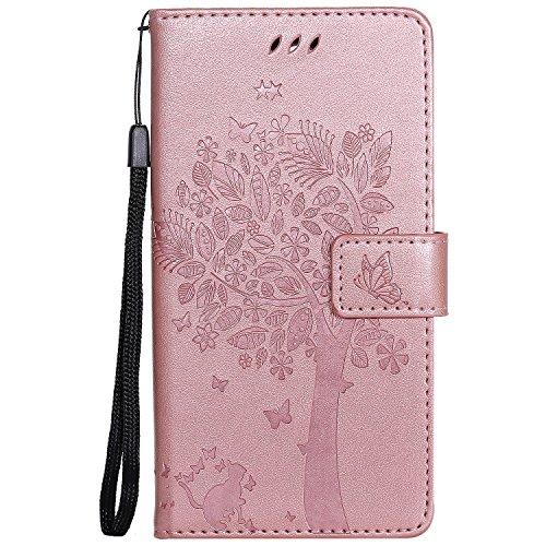 Chreey Motorola Moto G4 / G4 Plus Hülle, Prägung [Katze Baum] Muster PU Leder Hülle Flip Case Wallet Cover mit Kartenschlitz Handyhülle Etui Schutztasche [Rose Gold]