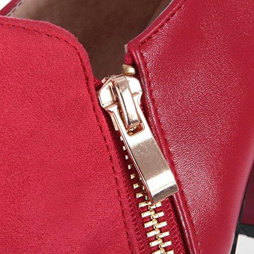 AllhqFashion Femme Zip à Talon Correct Pu Cuir Couleurs Mélangées Pointu Chaussures Légeres Rouge