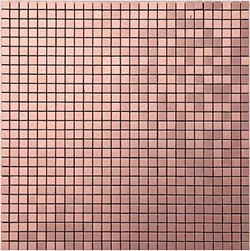 Aluminium Mosaik (Metallischen Glanz Mosaik Fliesen Aufkleber, Self Adhesive Aluminium-Kunststoff-Panel Kacheln, 30 x 30 x 0,4 cm home-dekorative Mosaik, Farben optional, LSA21 (1 Stück | 30x30cm, A21(Rose Gold)))