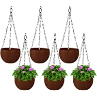 MUCH-MORE® Plastic Plant Pot with Hanging Chain | Flower Hanging Pot for Home Gardening (Dark-Brown Pack of 6 HD-79.1)