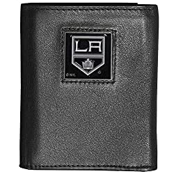 NHL Los Angeles Kings Deluxe Leather Tri-Fold Wallet Packaged in Gift Box, Black
