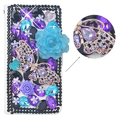 Spritech (TM) 3D Handmade viola diamante nero cristallo farfalla blu fiore design portafoglio in pelle, pattern 5, Samsung Galaxy S4 Mini I9195
