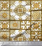Soimoi Gold Kunstseide Stoff Check & Damast Patchwork Stoff