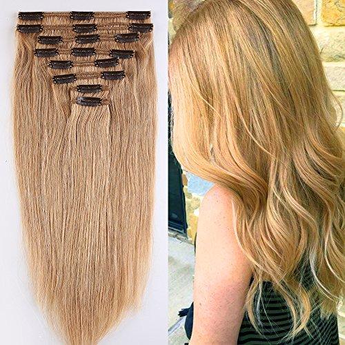 Extension capelli veri clip double weft 8 fasce remy human hair xxl full head set lisci corta 30cm pesa 115g, #27 biondo scuro