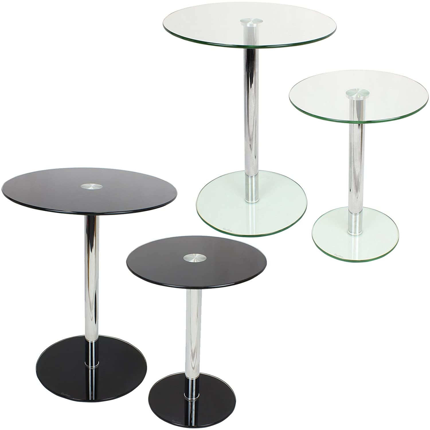 Hartleys Set of 2 & Small Round Glass Tables Amazon