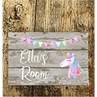 Christmas Birthday Gift Girls Unicorn Plaque Bedroom Door Sign/plaque Personalised Bunting Design Name Pretty stocking filler
