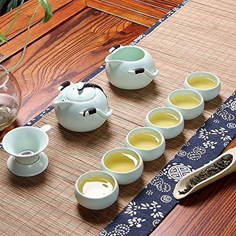 xiduobao Porcelaine RU Four Kungfu thé chinois de Gong Fu à thé en céramique Ensemble à thé tasse à thé Maison/Bureau/Voyage Teaset. Lot de