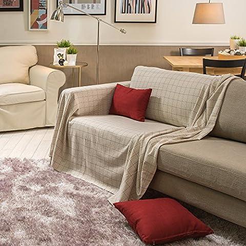 Sancarlos - Foulard Multiusos Moderno Roldan Crema - Multiusos Para Sofá O Cama - Fácil Mantenimiento - Esquinas Redondeadas, Cama Individual - Sofá 2