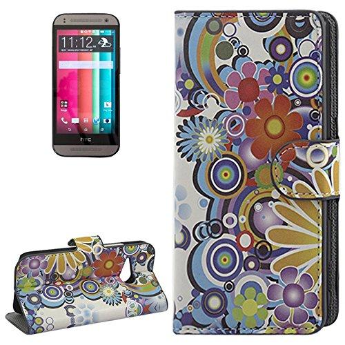 König-Shop HTC One mini 2 Handy Hülle Schutzhülle Schutztasche Tasche Case Cover Etui Schale Handyhülle Handyschale Handytasche Klapptasche Klapphülle Wallet Kunstleder Retro Muster