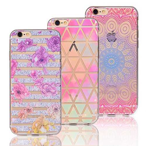 3 X iPhone 7 Coque, Vandot Doux Transparent TPU Silicone Etui Style D'aquarelle Dessin Animé Motif Animal Case Shock-Absorption Anti-rayures Cover Ultraléger Ultra-mince Cover pour iPhone 7 Watercolor 3in1-Design B