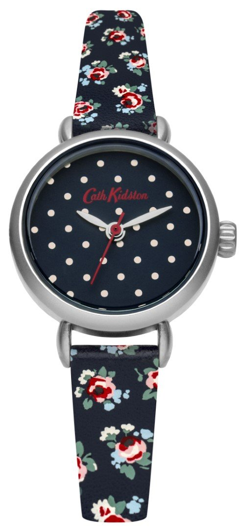 Cath Kidston Women Kew Sprig Blue Leather Strap Wrist Watch Water Resistant