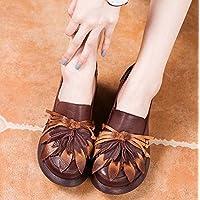Bomba 6cm wedege talón redondo dedo del pie Ascensor calzado zapatos zapato corte zapatos mujeres flor de borla borla nacionales viento elástico zapatos ocasionales zapatos de vestir 2017 otoño e invierno nuevo UE tamaño 34-39 ( Color : Brown , Size : 36 )