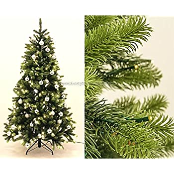 k nstlicher weihnachtsbaum mit spritzguss nadeln led beleuchtung und silbernen kugeln 180cm. Black Bedroom Furniture Sets. Home Design Ideas