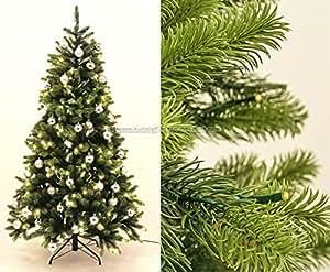 pe weihnachtsbaum mit led beleuchtung und silberne kugeln 210cm 1156 tips mit spritzguss nadeln. Black Bedroom Furniture Sets. Home Design Ideas
